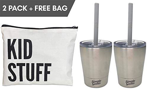 Simple Goods 2 Pack Kids Stainless Steel Sippy Cup Tumbler with Straw, Lid & Bag (Tiny, 8 oz, Silver/Silver 2 Pack)