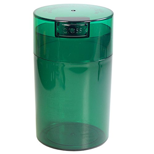 Tightvac - 1 oz to 6 ounce Airtight Multi-Use Vacuum Seal Portable Storage Container for Dry Goods, Food, and Herbs - Green Tint Cap & Body
