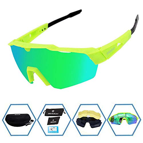GIEADUN Sports Sunglasses Protection Cycling Glasses with 4 Interchangeable Lenses Polarized UV400 for Cycling, Baseball,Fishing, Ski Running,Golf (Green) ()