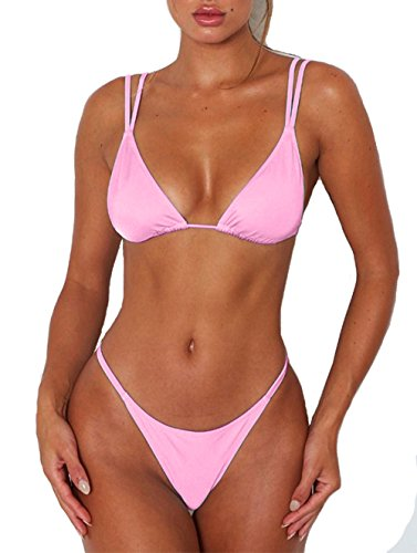 Womens Sexy Solid Color Tie Top Bottom Adjustable Skimpy Triangle Bikini String Swimsuit (Baby Pink, L) Brazilian Tie Bikini Top