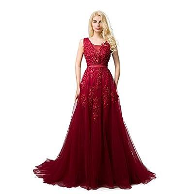 SHANGSHANGXI Formal Evening Dresses Deep V-neck Tulle Burgundy Prom Dresses for Women