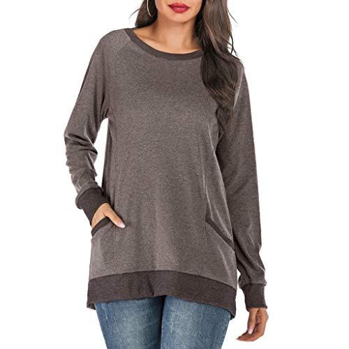 Long Sleeve Shirts for Women,LuluZanm Sales! Ladies Solid Color Pocket Tops Vintage Round Neck Pullover Blouse ()