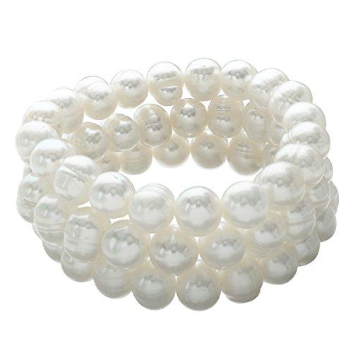 Honora Set of 3 10-11 mm Freshwater Cultured Pearl Bead Bracelets