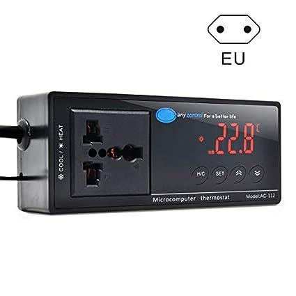 Cutowin - Termostato Digital LED de Control de Temperatura para Acuario Repelente AC-112,