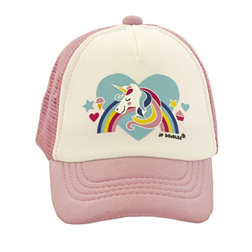 JP DOoDLES® Unicorn On Kids Trucker Hat. The Kids Baseball Cap Is Available In Light Pink Mesh Back. The Kids Ball Cap Fits (Kiddo 2.5-6 Years, Light (Childs Ball Cap)