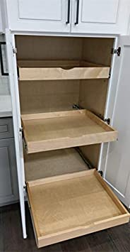 , Pull-Out Shelf Include 2 Pack Full Extension Side Sliders 2 Rear Mounting Brackets Cabinet Slide Out Shelves 30W x 21D Pot#6 Elysian Roll Wood Tray Drawer Boxes Kitchen Organizers