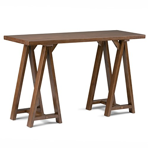 Console Table Brown Wood - Simpli Home Sawhorse Solid Wood Console Sofa Table, Medium Saddle Brown