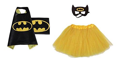 Rush Dance Kids Children's Deluxe Comics Super Hero CAPE & MASK & TUTU Costume (Batman (Yellow (Batman Costume Sydney)