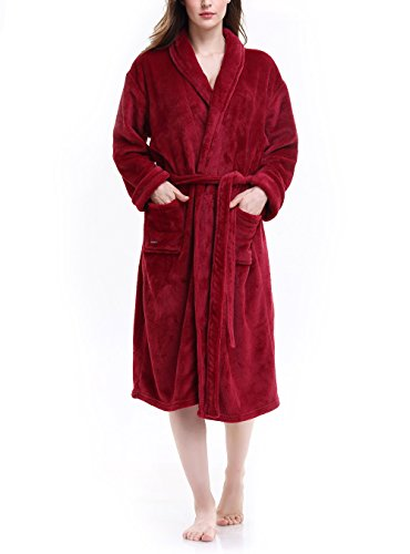 David Archy Women s Micro Fleece Robe Shawl Collar Bathrobe ... b69323110