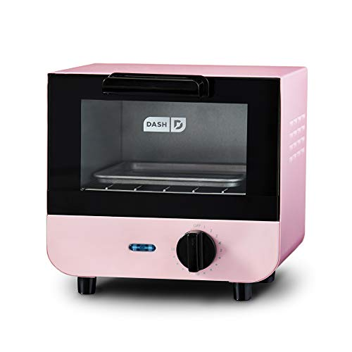 Dash DMTO100GBPK04 Mini Toaster Oven Cooker for for Bread, Bagels, Cookies, Pizza, Paninis & More with Baking Tray, Rack, Auto Shut Off Feature, Pink