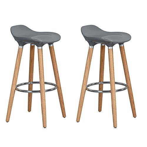 Aingoo Bar Stools set of 2 - Plastic Counter Height Stools, with Solid Wooden Base and Metal Footrest, Perfect as Kitchen Breakfast Barstools, Grey (Wooden Breakfast Bar Stools)