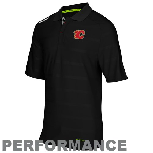 fan products of NHL Reebok Calgary Flames Center Ice Team Performance Polo - Black (X-Large)