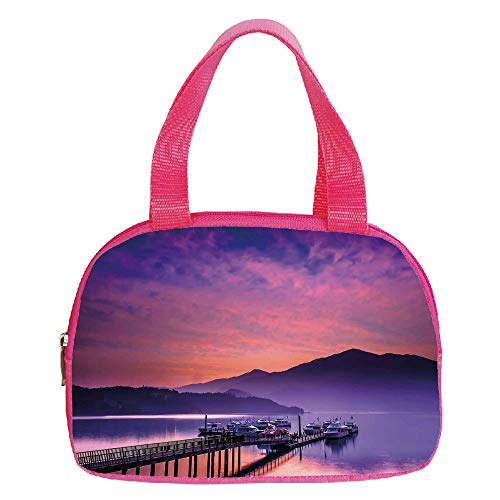 Multiple Picture Printing Small Handbag Pink,Landscape,Asian Seashore in Nantou Taiwan Majestic Cloudy Sky Scenery Lake Boats Mountain,Pink Purple,for Girls,Comfortable Design.6.3