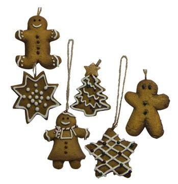 Mini Ginger Cookie Ornament Set Country Primitive Christmas Holiday Décor