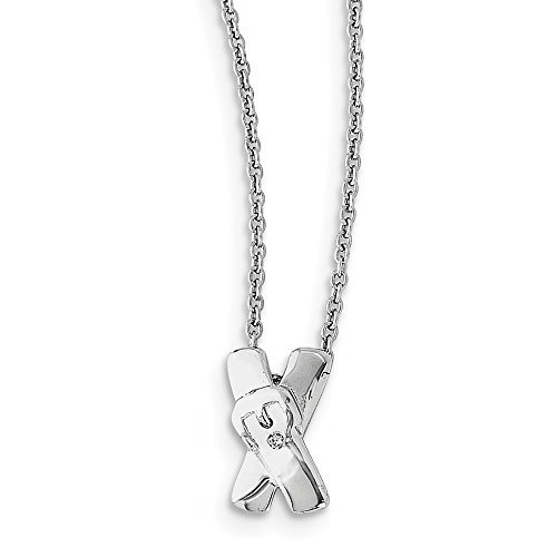 "Solid 925 Sterling Silver X Buckle Diamond Necklace Chain 18"" - with Secure Lobster Lock Clasp (1mm)"