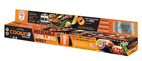 (COOKINA B12 Barbecue Reusable and Non-Stick Grilling Sheet Black)