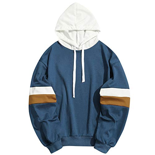 WOCACHI Clearance Sale Mens Hoodies Patchwork Striped Long Sleeve Hooded Sweatshirt Pullover Promotion Autumn Winter Warm Trench Coats Windbreaker Sweaters Sweatshirts (Navy, XX-Large)]()