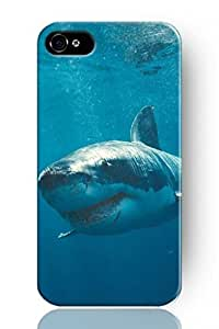TYH - SPRAWL New Vintage Design Personalized Hard Plastic Snap on Slim Fit Swimmming Scary Shark Iphone 4/4s Case Ocean View ending phone case