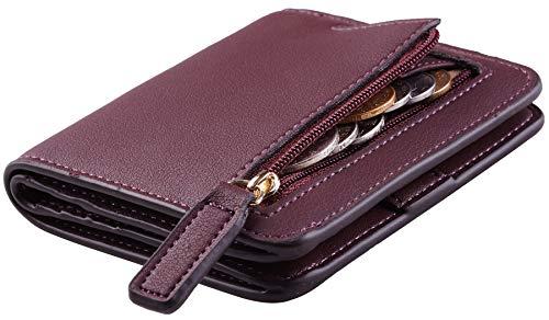Toughergun Womens Rfid Blocking Small Compact Bifold Luxury Genuine Leather Pocket Wallet Ladies Mini Purse with ID Window (ReNapa Red Wine)
