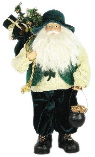 16 Irish Shamrock Santa Claus W/Pot of Gold - Green S11693