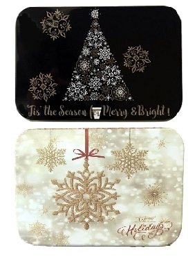Christmas Holiday Gift Card Tin Box Holders Tree and Snowflake Black White and Gold 2 Pack Snow Country Felt