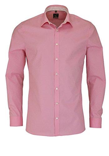 OLYMP No. Six super slim Hemd Langarm mit Besatz Stretch rosa