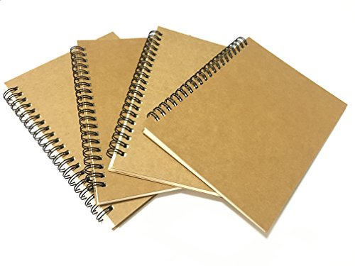 Timemorry 4Pack Spiral Bound Sketchbook/Sketch Pads/Drawing Notebook, 50 Sheets(100Pages)/Pack