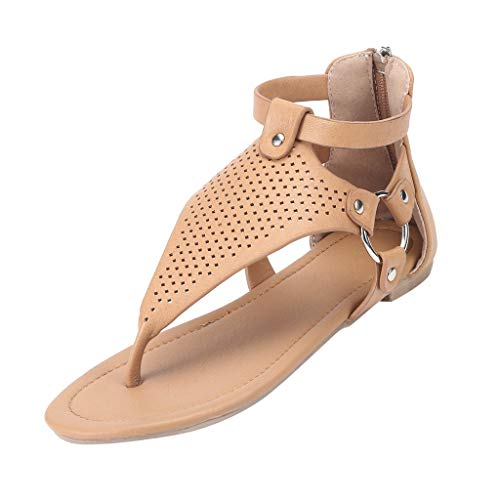 Gladiator Sandals for Women,SMALLE◕‿◕ Women's Flip Flops Flats Thong Fish Scale Zipper Slipper Ankle Roman Shoes Brown