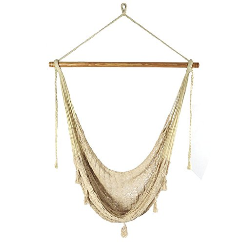 Sunnydaze Extra Large Mayan Hammock Chair, Comfortable Hanging Swing Seat Cotton/Nylon Rope, Lightweight, Includes Wood Bar, Indoor/Outdoor Use, Max Weight: 330 Pounds, Natural by Sunnydaze Decor