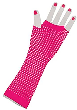 80's Neon Pink Long Fishnet Gloves - One Size