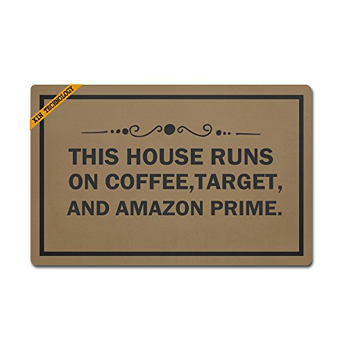 (Artsbaba Personalized Your Text Doormat This House Runs On Coffee Target Amazon Doormats Monogram Non-Slip Doormat Non-Woven Fabric Floor Mat Indoor Entrance Rug Decor Mat 23.6