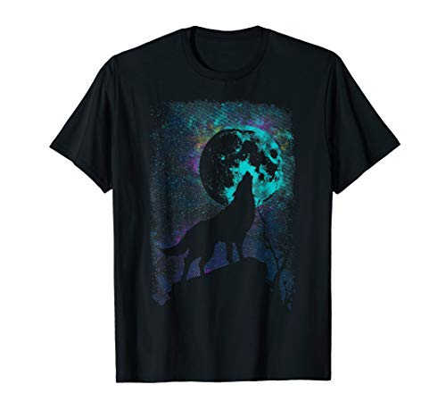 Vintage Wolf Howling At Moon Gift T-Shirt Wolves Lover ()