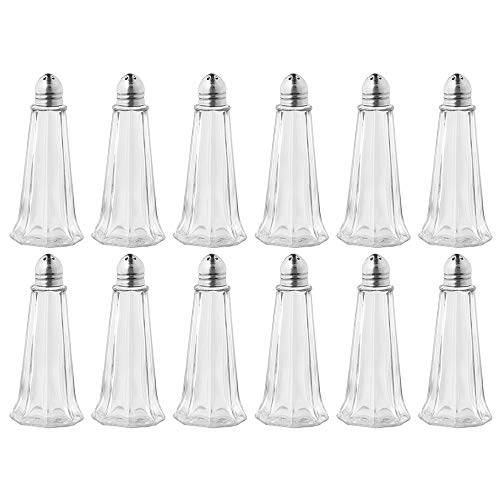 ((Set of 12) Tower Salt and Pepper Shakers, 1 Oz Tall Glass Body, Small Glass Salt and Pepper Shakers for Restaurant by Tezzorio)