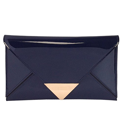JNB Faux Patent Leather Glossy Envlope Clutch (Navy)