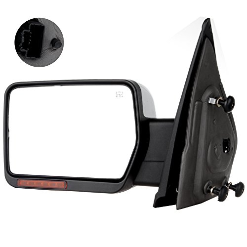 SCITOO Towing Mirror fit 2004-2014 Ford F150 97-99 Ford F250 Chrome Power Heated Puddle Signal Light Left Driver Side Mirror