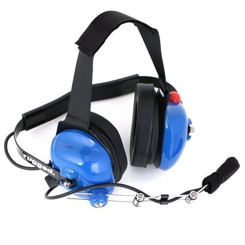 Rugged Radios H42-LTBLUE Blue Behind The Head Two-Way Radio Headset with Dynamic Noise Cancelling Microphone, Push to Talk, and 3.5mm Input Jack for Music & MP3 Players