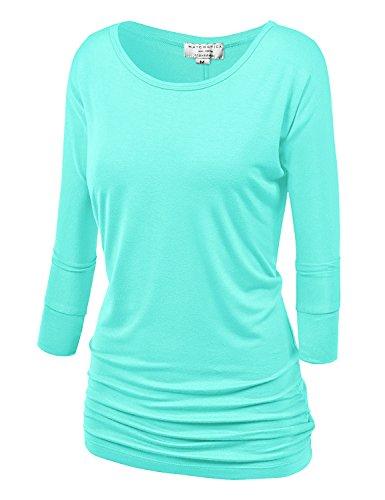Match Women's 3/4 Sleeve Drape Top with Side Shirring (140 - Aqua Green