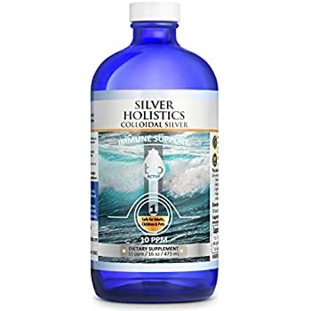Silver Holistics   Colloidal Silver Liquid   Natural Immune System Booster   Pure 10 PPM Ionic Silver Water   Daily Mineral Supplement   16 oz. Glass Bottle   Safe for Pets