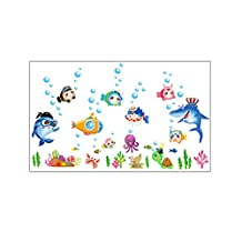 WINOMO Ocean Wall Sticker Under Water Sea Wall Decals for Living Room Bedroom Decor