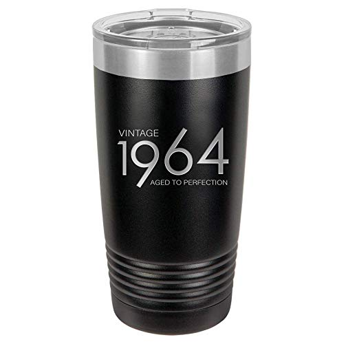 1964 55th Birthday Gifts for Men and Women Black 20 oz Insulated Stainless Steel Tumbler   55 Year Old Presents   Mom Dad Wife Husband Present   Party Decorations Supplies Anniversary Tumblers Gift th
