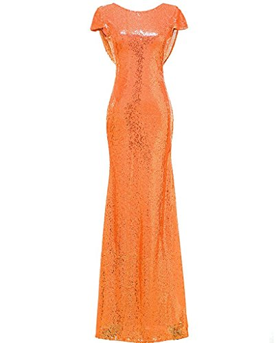 Graduación Solovedress Fiestas Vestido Corte Naranja Formales Con Mujer De O Largo Brillantes Para Sirena Lentejuelas Damas Honor PPEpqFrw