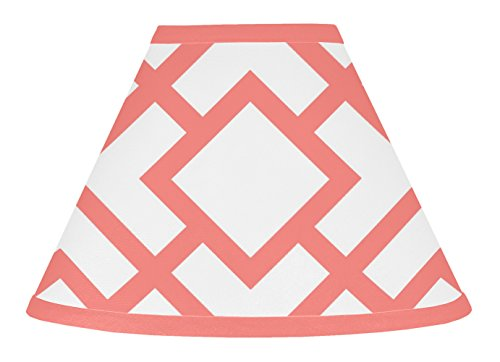 Sweet Jojo Designs Modern White and Coral Diamond Geometric Baby, Childrens Lamp Shade by Sweet Jojo Designs