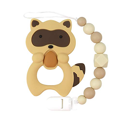 Baby Teething Toys, TYRY.HU BPA Free Silicone Teether with Pacifier Clip Holder for Babies Boys Girls Infant Shower Gift (Raccoon)