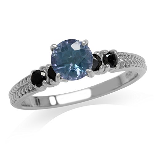 - 1.3ct. Color Change Alexandrite Doublet & Black Spinel 925 Sterling Silver Engagement Ring Size 8
