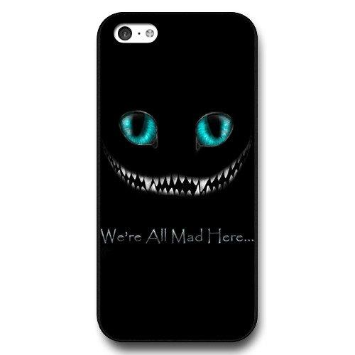 UniqueBox Customized Black Hard Plastic iPhone 5c Case, Alice in Wonderland We're all mad here Cheshire Cat Smile Face iPhone 5C case