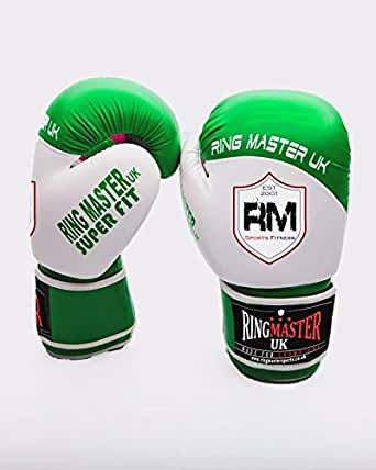RingMaster UK 12oz Boxing Gloves Synthetic Leather Green And White