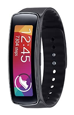 Samsung Gear Fit Fitness Tracker and Smartwatch for Samsung Devices (Charcoal Black) with Knox 3 in 1 Multi Wire Charger Cable (3 FT)
