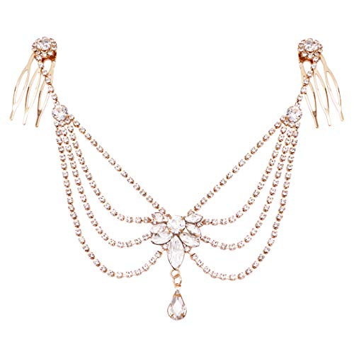 Rosemarie Collections Women's Multi Chain with Marquis and Teardrop Center Crystal Rhinestone Tikka Hair Comb Head Chain