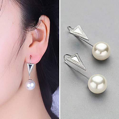 - SHOUSHI Women's Western Fashion Fashion Plated Stud Earrings S925 Silver Earrings Women Fashion Triangle Beads Inlay Earrings, White