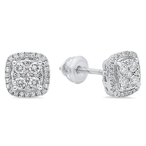 0.40 Carat (ctw) 14K White Gold Round White Diamond Ladies Cluster Style Stud Earrings by DazzlingRock Collection